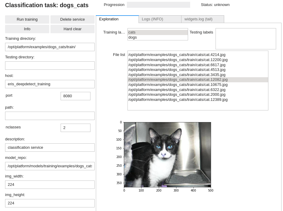 Image classification data check in DD platform Jupyter UI