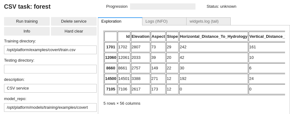 CSV data review in DD platform Jupyter UI
